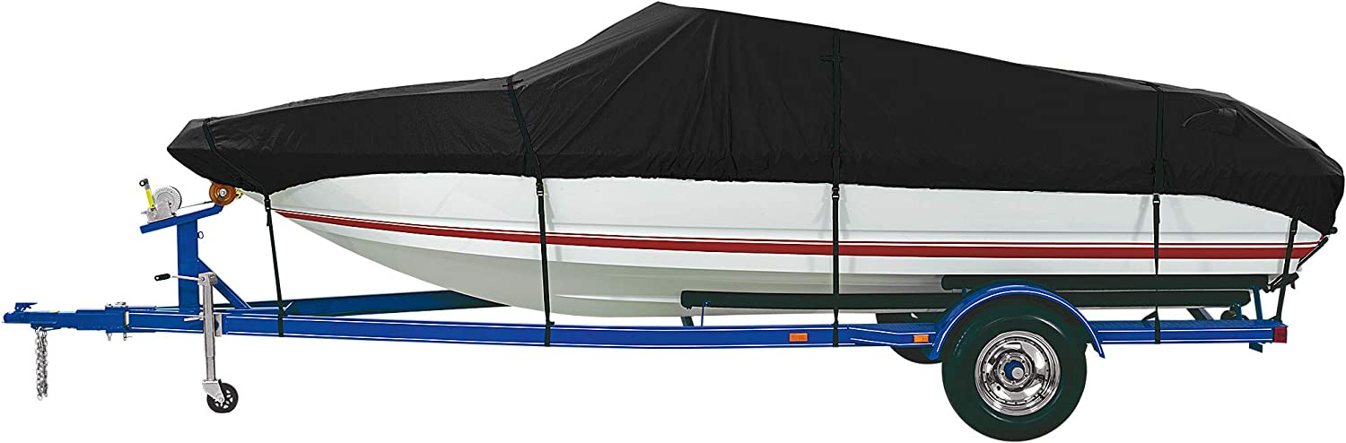 iCOVER Trailerable Boat Cover, 600D Heavy Duty Waterproof UV Resistant Marine Grade Polyester Fits V-Hull,TRI-Hull,Pro-Style,Fishing Boat,Runabout,Bass Boat, Optional Support Pole/Tightening Strap