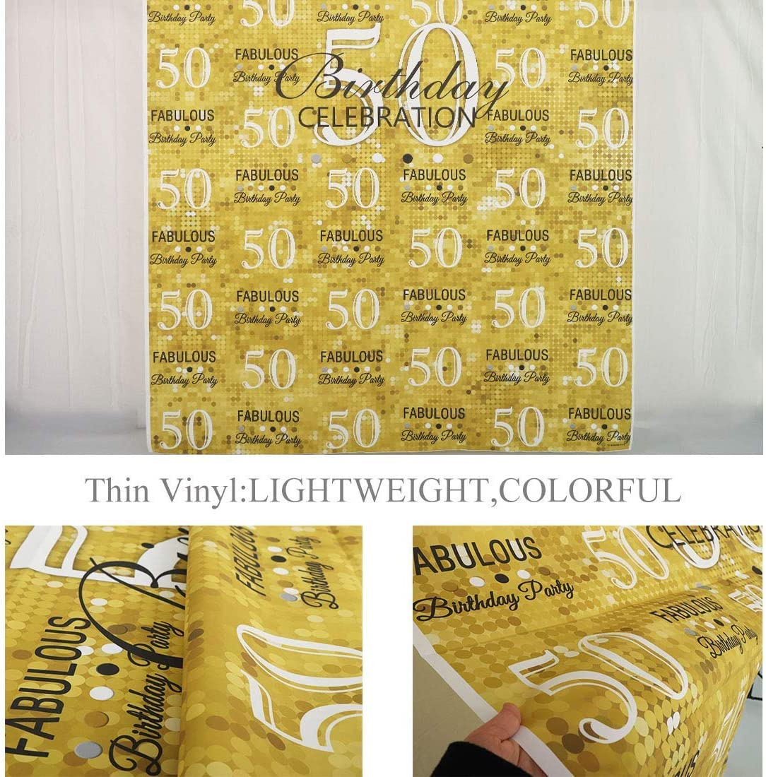 8x6ft Fiftieth Anniversary Happy Fabulous Adult Female Hollywood Birthday Party Wallpaper Studio Wedding Cloth Family Portrait Cloth