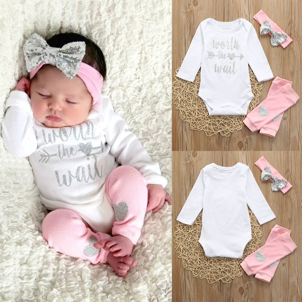 Amazon.com: Lurryly 3Pcs Baby Girls Rainbow Romper Jumpsuit Clothes Headbands Pajamas Outfit 0-2T: Clothing