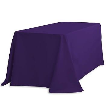 LinenTablecloth Rectangular Polyester Tablecloth 90 X 132 Purple