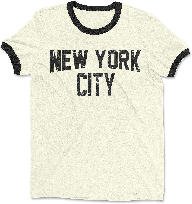 Ringer Tee Natural New York City John Lennon Distressed T-Shirt Retro