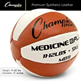 Champion Sports Exercise Medicine Balls, 11-12 lbs, Leather with No-Slip Grip - Weighted Med Ball Set for Weight Training, Stability, Plyometrics, Cross Training, Core Strength - Heavy Workout Ball
