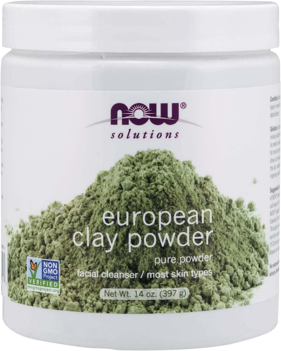 NOW Solutions, European Clay Powder, Pure Powder for a Detox Facial Cleansing Mask, 14-Ounce