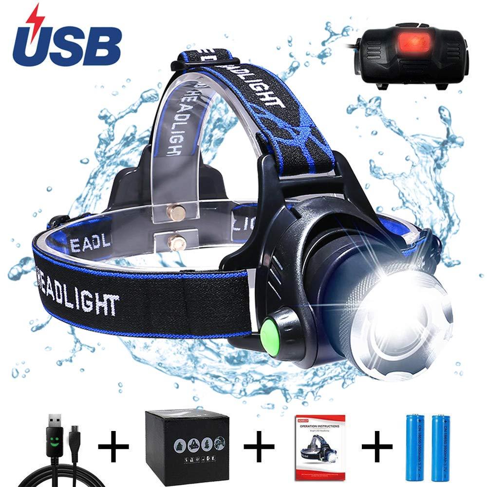 AUKELLY LED Linterna Frontal Recargable Linternas Frontales Alta Potencia,LED L/ámpara de Cabeza 3 Modos,Linterna Frontale Recargable USB,1000 Lumen Linterna Frontal para Camping,con 18650 Bater/ías