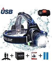 AUKELLY LED Linterna Frontal Recargable Linternas Frontales Alta Potencia,LED Lámpara de Cabeza 3 Modos,Linterna Frontale Recargable USB,1000 Lumen Linterna Frontal para Camping,con 18650 Baterías