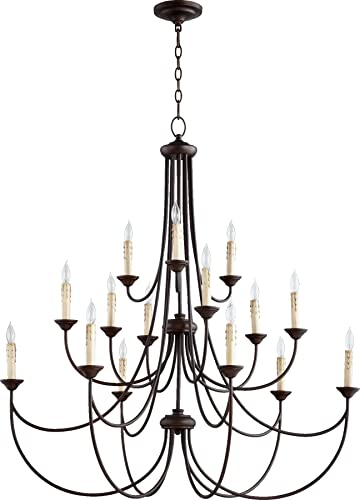 Quorum 6250-15-86 Traditional 15 Light Chandelier from Brooks Collection in Bronze Dark Finish