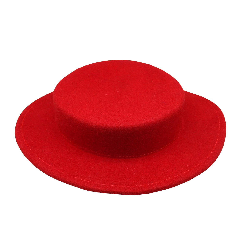 HATsanity Women's Trendy Wool Felt Mini Boater Hat Style Fascinator Red