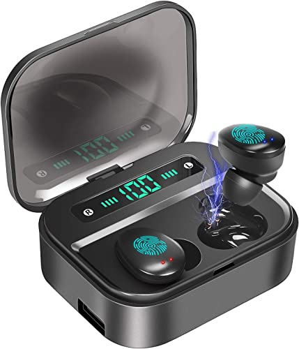 True Wireless Earbuds Bluetooth 5.0 in-Ear Headphones with 3500mAh Charging Case, PEMOTech LED Battery Display 120H Playtime IPX7 Waterproof Wireless Earbuds Noise Cancelling with Mic for Sports Work