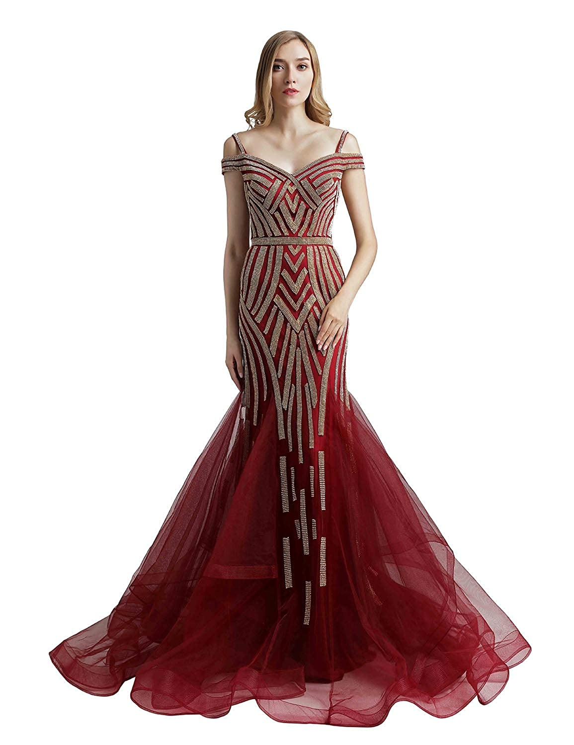 494burgundy Sarahbridal Womens Lace Prom Dresses Formal Evening Gown with Half Sleeve SD328