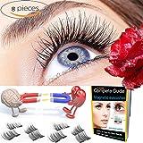 Premium Magnetic False Eyelashes 3D - Eyelashes Glue Free, Dual Prime Magnetic Eyelashes Pack for Eyelashes Natural Look - 3D Reusable Fake Eyelashes Extensions - Handmade 100%, with 2 pairs 8 pieces
