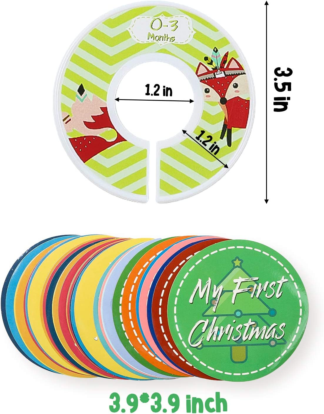 R HORSE Baby Closet Size Dividers Set of 12Pcs Nursery Closet Clothes Dividers and 32Pcs Newborn Stickers Toddler Decor Clothes Size Dividers with Pre-Printed and Blank Size Dividers for Boy Girl