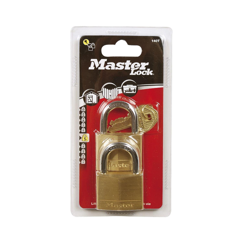 40 mm Set de 2 Piezas Oro Master Lock 140EURT Lote de Candados para Bodegas
