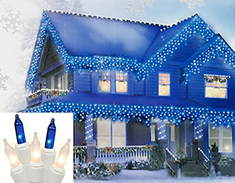 set of 100 blue and frosted clear mini icicle christmas lights white wire