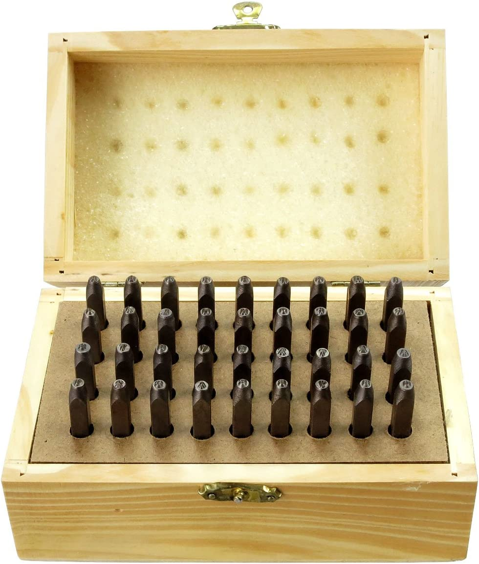 Hawk TZ9093W 36Pc 1.5mm Number /& Letter Punch Set in Wooden Box