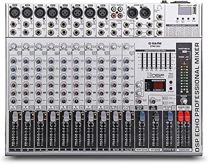 Amazon Com G Mark Gmx1200 Professional Audio Mixer Micriophone Console Dj Music Studio 12 Channels 8 Mono 4 Stereo 7 Brand Eq 16 Effect Usb Play Musical Instruments