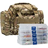 Dr.Fish Fishing Tackle Bag Loaded 5 Boxes 60 Huge Fishing Lures Kit Spoons Spinners Crankbaits Soft Plastic Shad Swimbaits Tr