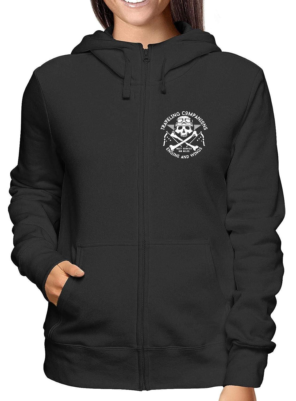 Sweatshirt Damen Hoodie Zip Schwarz TB0461 Vintage Biker Skull Emblem