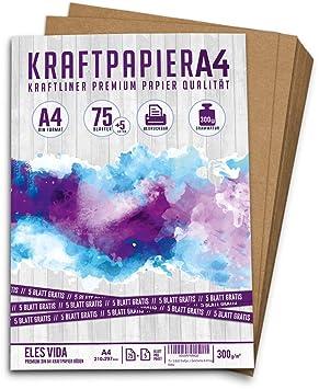 75 hojas Formato DIN Papel artesanal y cartulina natural Cart/ón Hojas de papel Kraft para imprimir Papel de cartulina Elaboraci/ón de etiquetas hojas de papel Kraft A4 Set 260 g 21 x 29,7 cm