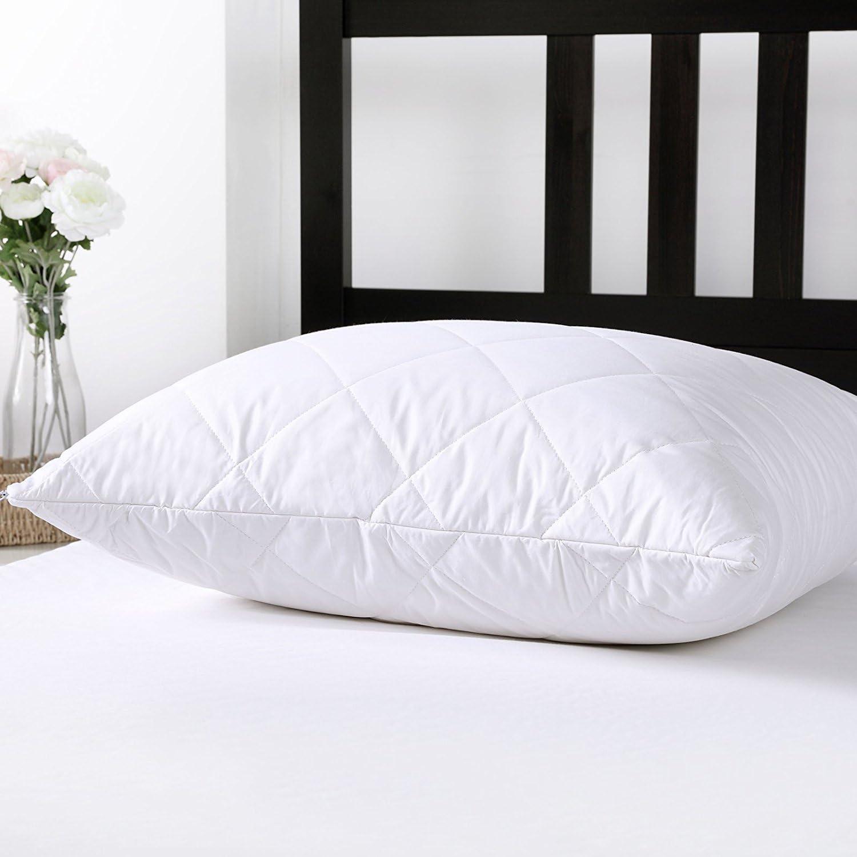 Dreamaker 2x 100% Protector de almohada de algodón relleno de lana de Australia funda de almohada, Blanco, 50x75cm