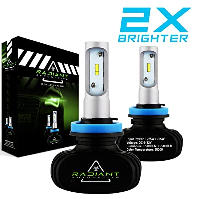 H11/H8/H9 Radiant Ultra Bright 9000LM High Low Cool White Light LED Kit Headlight Bulbs PAIR: Automotive