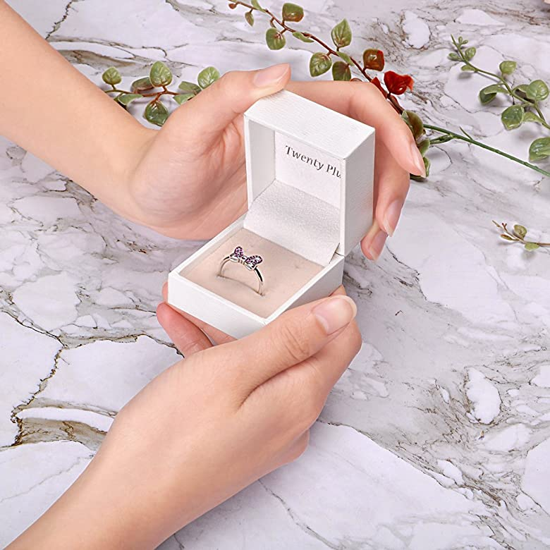 Cubic Zirconia Rings for Adorable Gift LGSY Cute Mouse Statement Rings for Women Grils Sterling Silver Fashion Jewelry