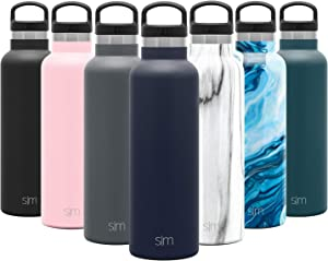 Simple Modern 20oz Ascent Water Bottle - Hydro Vacuum Insulated Tumbler Flask w/Handle Lid - Navy Double Wall Stainless Steel Reusable - Leakproof -Deep Ocean