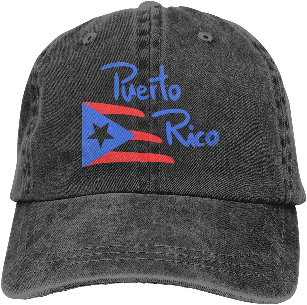 LOUIS ROBSON Unisex Puerto Rico Washed Cotton Denim Baseball Cap Vintage Adjustable Dad Hat for Men Women