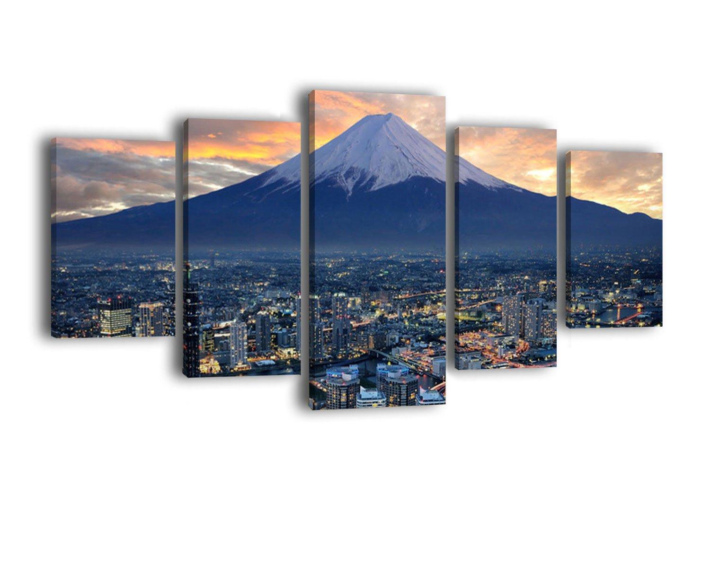 Leinwandbild Yokohama LW416 LW416 LW416 Wandbild, Bild auf Leinwand, 5 Teile, 210 x 100 cm, Kunstdruck Canvas, XXL Bilder, Keilrahmenbild, fertig aufgespannt, Bild, Holzrahmen, Japan, Küste, Fuji edb381