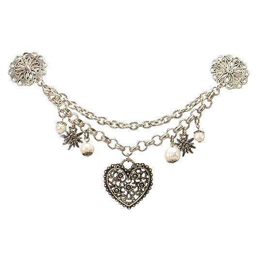 Alpenflüstern Dirndl-Pin-Charivari Blütenherz - Hochwertiger Damen-Trachtenschmuck mit Perlen und Blütenherz, Dirndlkette für