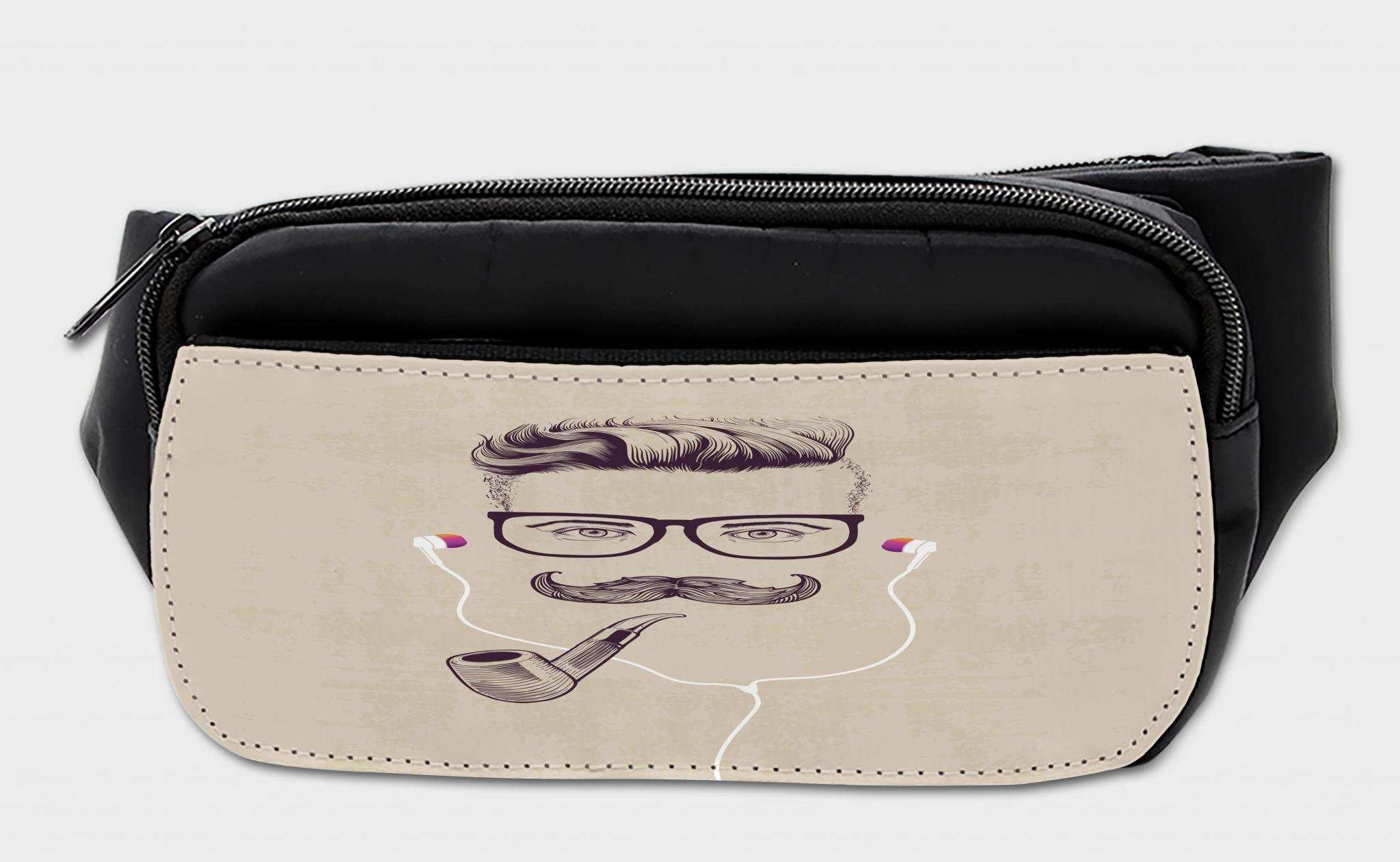 Lunarable Mustache Bumbag, Guy with Eyeglasses Pipe, Fanny Pack Hip Waist Bag