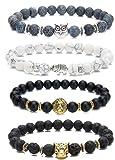 Amazon Price History for:LYLYMIMI Bead Bracelets for Men Elephant Bracelet Owl Lion Leopard Jewelry Set Matte Lava Rock Stone