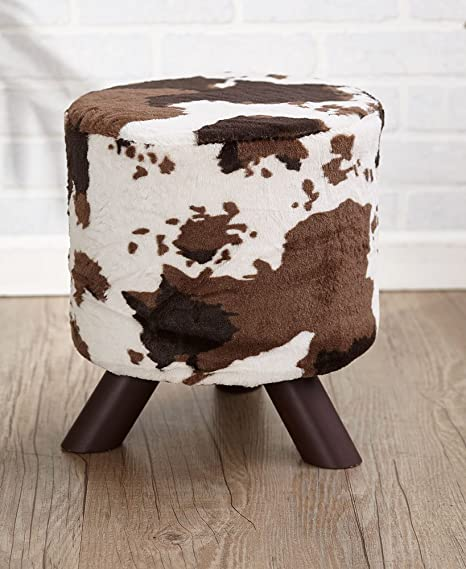 The Lakeside Collection Animal Print Fabric Covered Ottoman   Cream/Brown  Cow Hide
