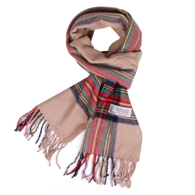 Plaid Cashmere Feel Classic Soft Luxurious Winter Scarf For Men Women (Tartan Camel)
