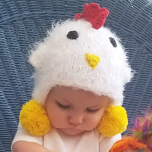 eae5ff36053a4 Amazon.com  Huggalugs Baby Toddler Childrens Cozy White Chicken Beanie Hat  E-I-E-I-O Legwarmers  Clothing