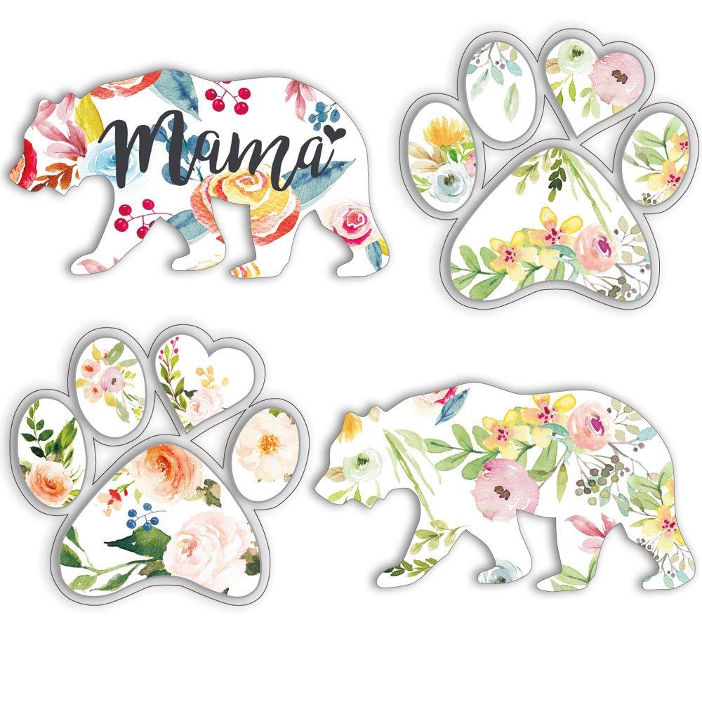Floral Paw Print Sticker, Footprint Sticker, Bear Decals For Laptop, Flower Animals Wall Sticker, Car Windows Vinyl Decal, Bumper Sticker Home Decoration