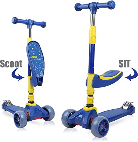 VOKUL Kick Scooter for Kids 3 Wheel Scooter for Toddlers Girls Boys, 4 Adjustable Height, Lean to Steer with LED Light Up Wheels for Children from 3 to 12 Years Old