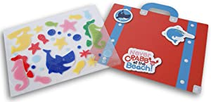 Summer Fun Window Gel Clings with Backdrop and Carry Folder - Sharks Seahorses and Sea Creatures - 36 Piece