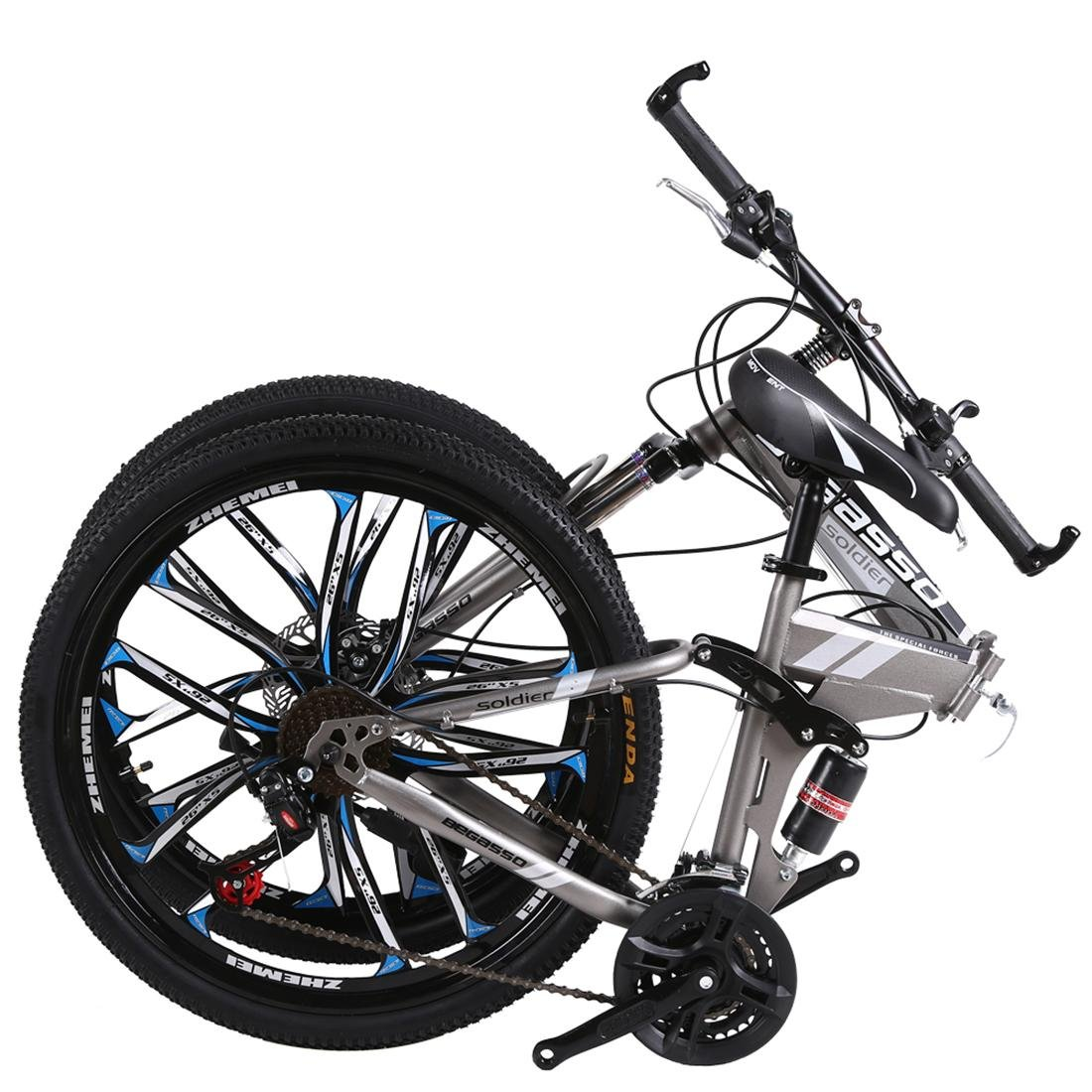 876ad5d50f2 26 Inch Folding Mountain Bike 21 Speed Double Damping 6/10 Knife Wheel And 3  Knife Wheel Bicycle Double Disc Brakes Mountain Bike , 26 inch-3 knife wheel:  ...