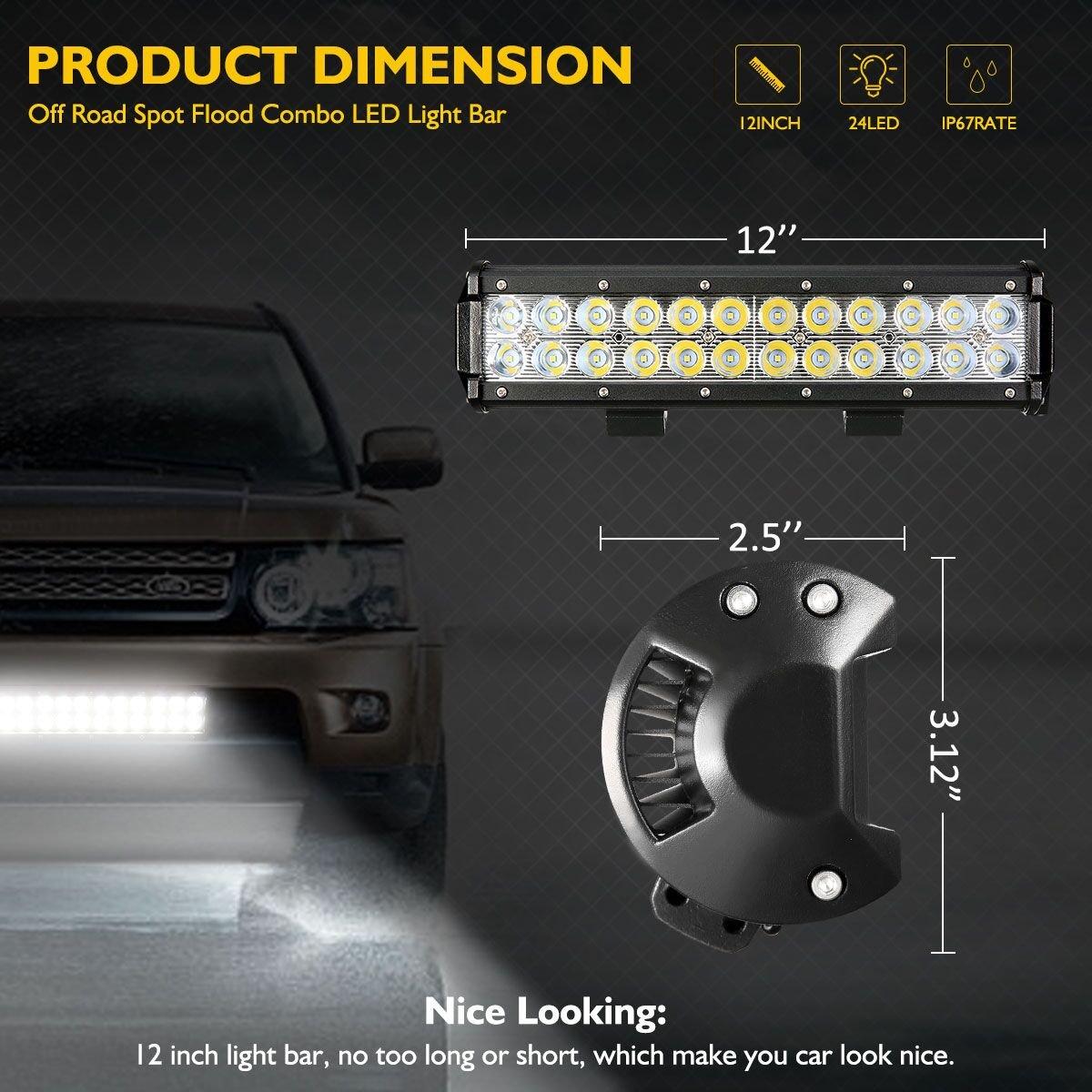 Amazon.com: AUDEW LED Light Bar 12 Inch 72W LED Work Light Led Bar ...