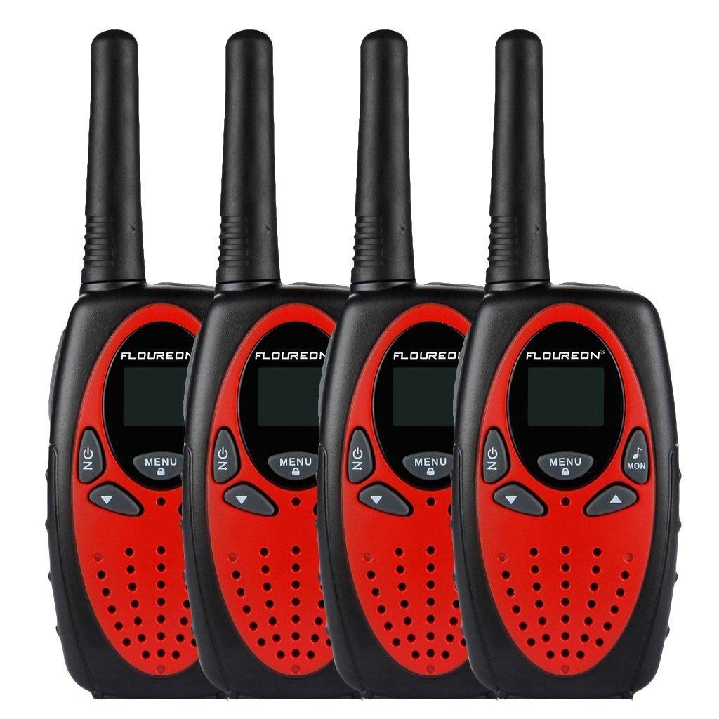 FLOUREON 4 Packs Walkie Talkies Two Way Radios 22 Channel 3000M (MAX 5000M Open Field) UHF Long Range Handheld Talkies Talky (Red) by floureon