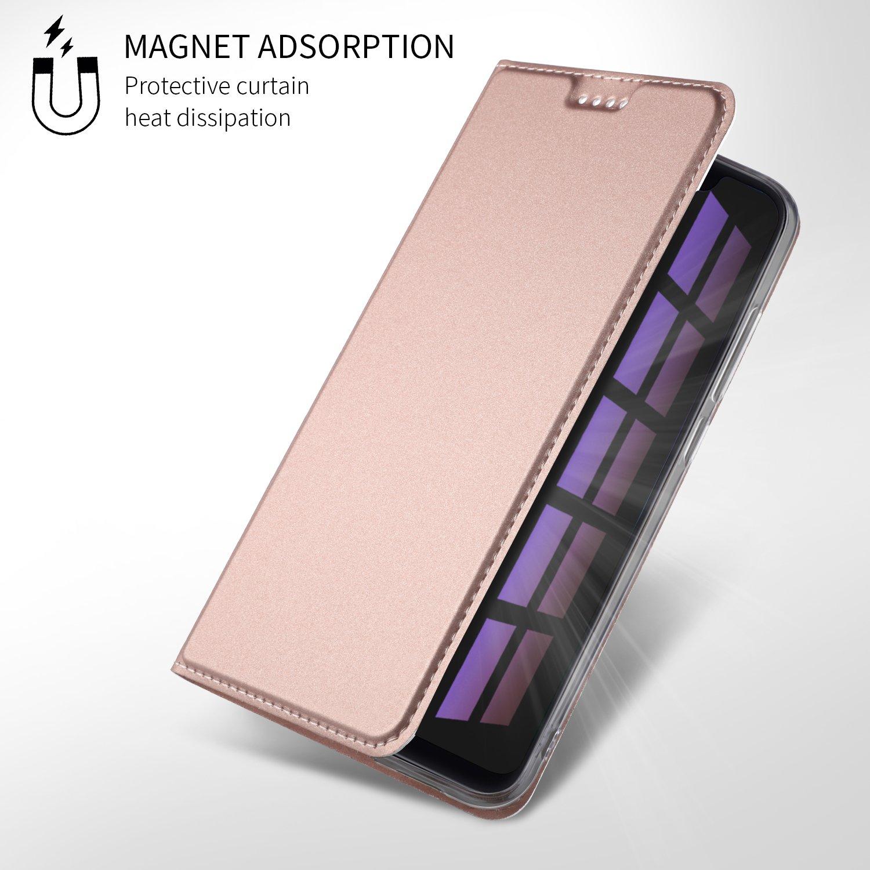 Wallet PU Leather Carcasas Funda con Ranura de Tarjeta Cierre Magn/ético para Xiaomi Mi8,liso Serie negro Ultra Silm PU Funda Cuero Flip XINKO Xiaomi Mi8 Funda