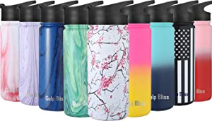 Gold Armour GulpBliss Water Bottle - Water Bottle Straw & Wide Mouth 2 Lids - Wide Mouth Vacuum Insulated 18/8 Stainless Steel Double Wall Sports Design