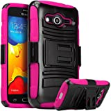 Galaxy Prevail LTE Case,Galaxy Core Prime Case, Nagebee Heavy Duty Hybrid Armor Dual Layer Rhino Kickstand Belt Clip Holster Combo Rugged Case for Samsung Galaxy Prevail LTE ,Samsung Galaxy Core Prime (Holster Combo Pink)