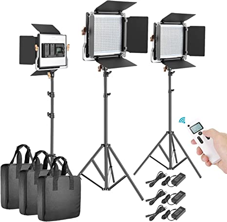 Neewer 3 Packs 2,4G 480 LED Video Luz Fotografía Kit Iluminación Panel LED Bicolor Regulable con Pantalla LCD Control Remoto Inalámbrico Soporte Luz para Fotografía Producto: Amazon.es: Electrónica