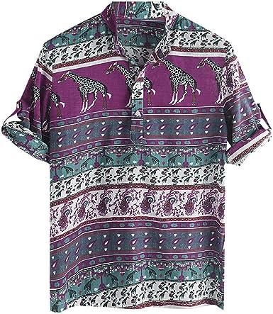 XuanhaFU Polo Camisa de Manga Corta Estampado Etnico de Verano para Hombre: Amazon.es: Ropa y accesorios