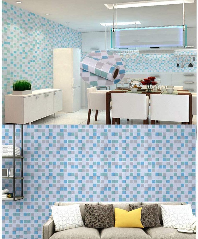 bleu Kitchen-dream Feuille de tuile de mosa/ïque 45CM X 3M auto-adh/ésive papier peint auto-adh/ésif imperm/éable /à leau de PVC de meubles pour la salle de bains autocollant de tuile cuisine mur