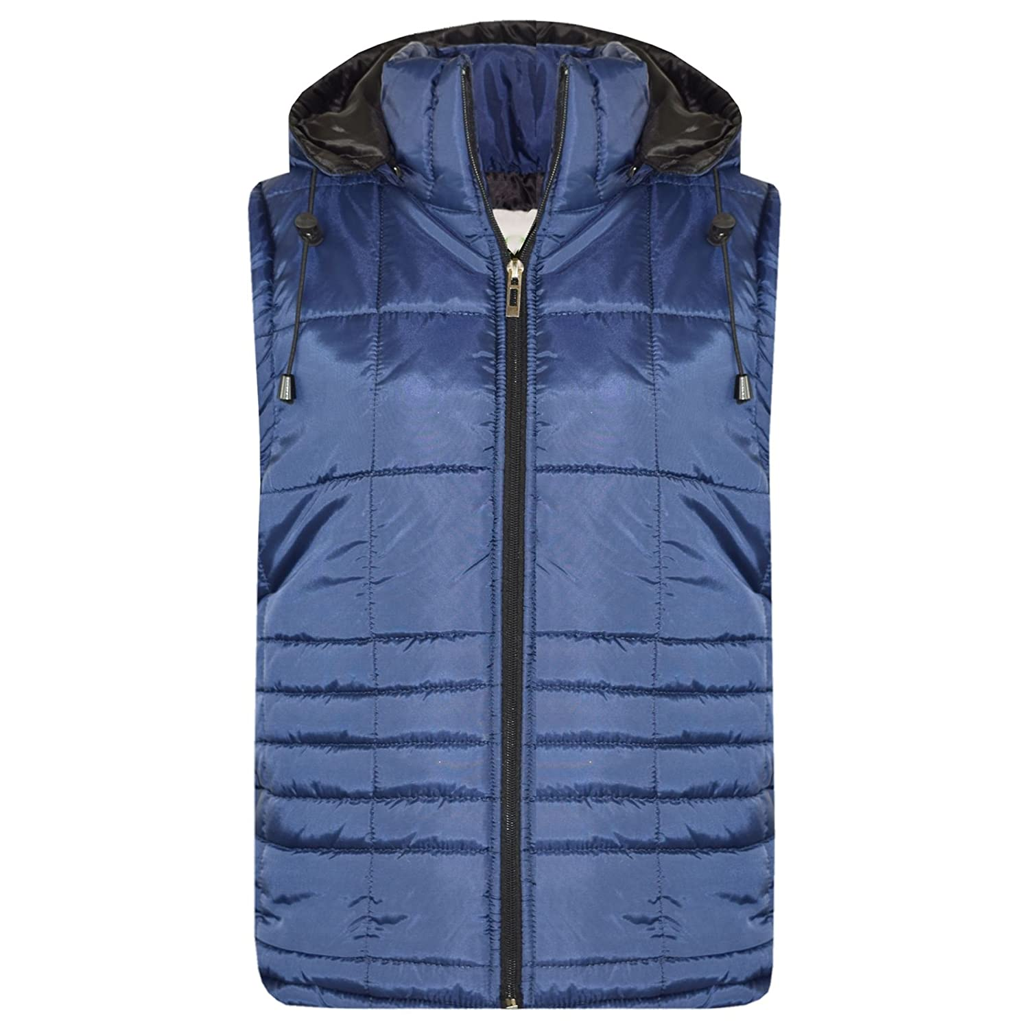 A2Z 4 Kids® Kids Girls Boys Designer's Navy Sleeveless Hooded Padded Quilted Lined Gilet Bodywarmer Fashion Jackets Age 5 6 7 8 9 10 11 12 13 Years