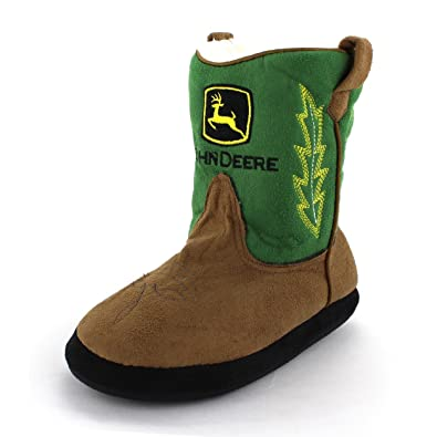 Amazon.com | John Deere Boys Green Cowboy Boot Slippers (L/XL (3-5 ...