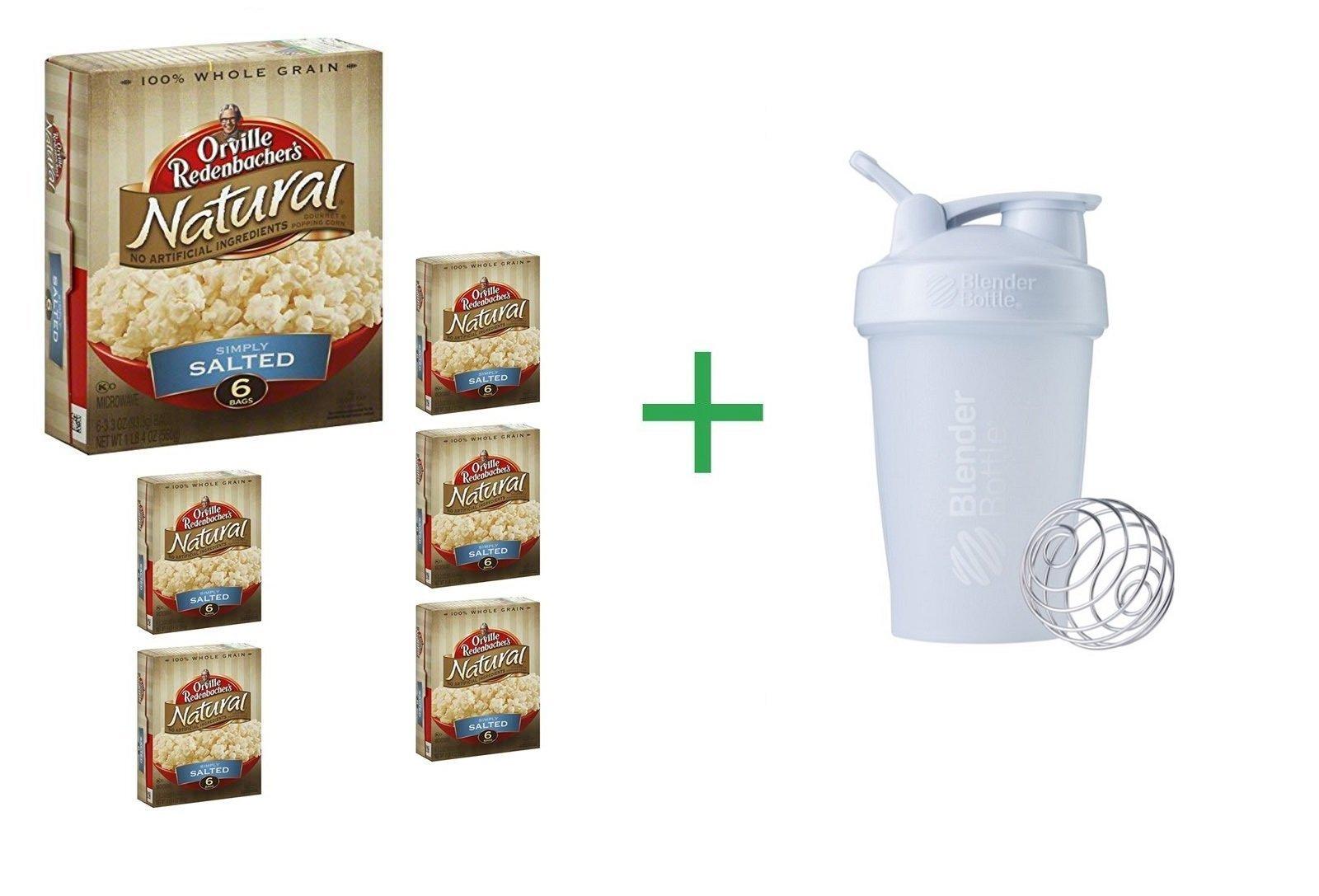 Orville Redenbacher's Natural Simply Salted Gourmet Popping Corn 6 CT (Pack of 6) + Blender Bottle