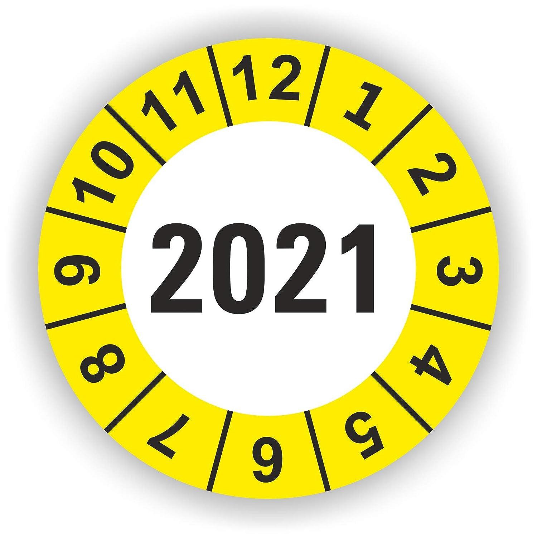 Rot 90 St/ück 5-1.000 St/ück Pr/üfplaketten Pr/üfetiketten Wartungsetiketten Jahresplakette 2021 /Ø 30mm